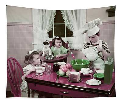 1940s 1950s Boy Two Girls At Kitchen Tapestry