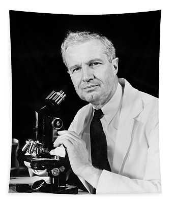 1940s Man Scientist Using Microscope Tapestry