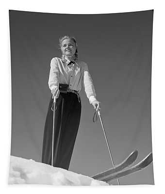 1940s Smiling Blond Woman Skier Poised Tapestry