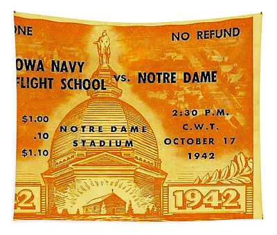 1942 Football Ticket Notre Dame Vs Iowa Navy Pre-flight Tapestry