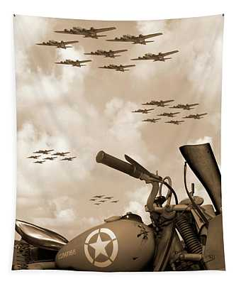 1942 Indian 841 - B-17 Flying Fortress' Tapestry