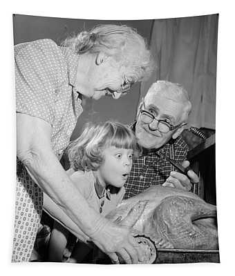 1950s 1960s Excited Little Girl Tapestry