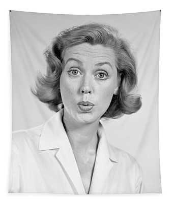 1950s 1960s Portrait Woman With Shocked Tapestry
