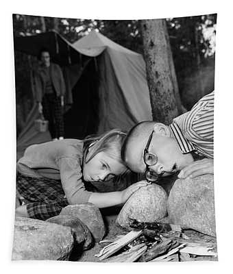 1950s Boy Girl Blowing On Campfire Tapestry
