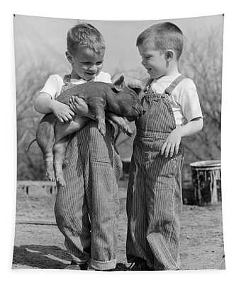 1950s Boys In Striped Overalls Holding Tapestry