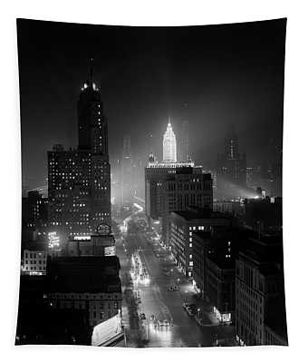 1950s Night Aerial Chicago Illinois Tapestry