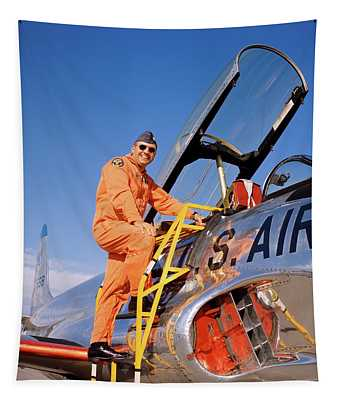 1960s 1970s Smiling Military Pilot Tapestry