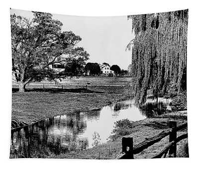 1960s Line Tone Graphic Effect Of Farm Tapestry