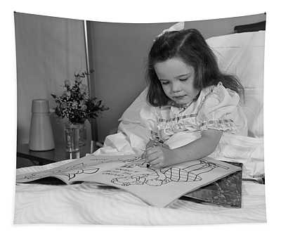 1960s Little Girl Patient In Hospital Tapestry