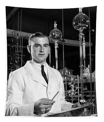 1960s Man Scientist In Chemistry Tapestry