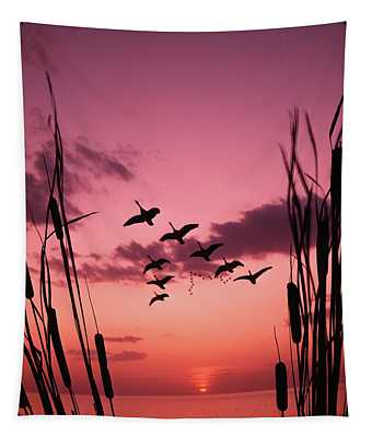 1960s Silhouetted Canada Geese Flying Tapestry