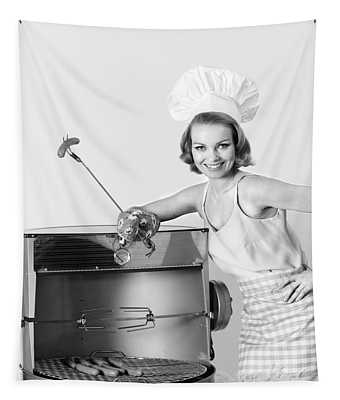 1960s Woman Wearing Chef Hat Standing Tapestry