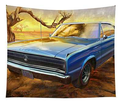 1967 Dodge Charger In The Desert Tapestry