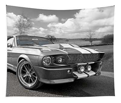 1967 Eleanor Mustang In Black And White Tapestry