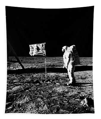1969 Astronaut Us Flag And Leg Of Lunar Tapestry