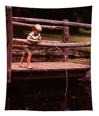 1970s Barefoot Blond Boy Fishing Tapestry