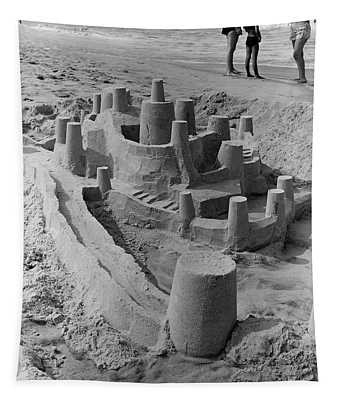 1970s Large Detailed Sand Castle Tapestry
