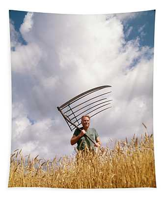 1970s Man Farmer Field Hand Wearing Tapestry