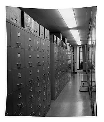 1970s Office Interior Corridor Lined Tapestry