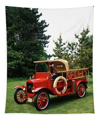 1970s Red 1924 Model T Ford Fire Truck Tapestry
