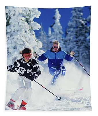 1990s Couple Skiing Vail Colorado Usa Tapestry