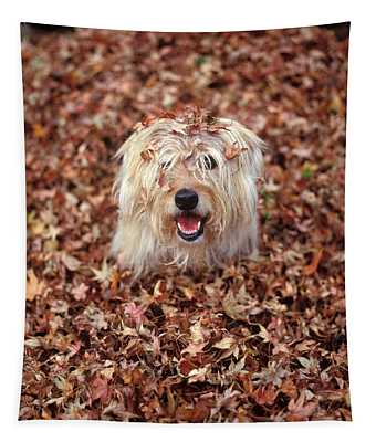 1990s Dog Covered In Leaves Tapestry