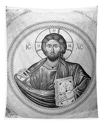 Christ Pantocrator In Black And White -- Church Of The Holy Sepulchre Tapestry