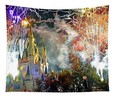 Fireworks Cinderellas Castle Walt Disney World Tapestry