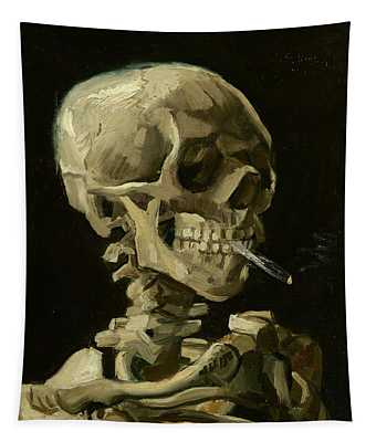 Head Of A Skeleton With A Burning Cigarette Tapestry