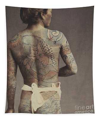 Man With Traditional Japanese Irezumi Tattoo Tapestry