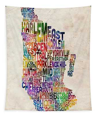 Manhattan New York Typographic Map Tapestry by Michael Tompsett