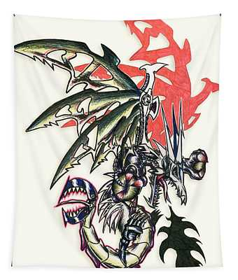 Tapestry featuring the painting Mech Dragon Tattoo by Shawn Dall
