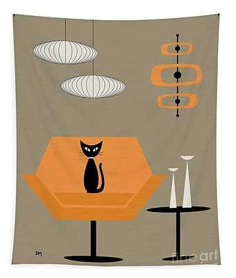 Mod Chair In Orange Tapestry