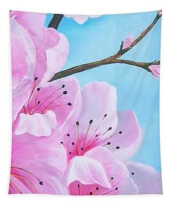 #2 Of Diptych Peach Tree In Bloom Tapestry