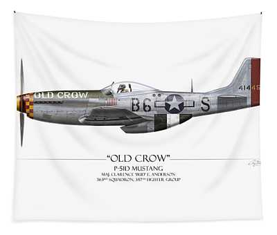 Old Crow P-51 Mustang - White Background Tapestry