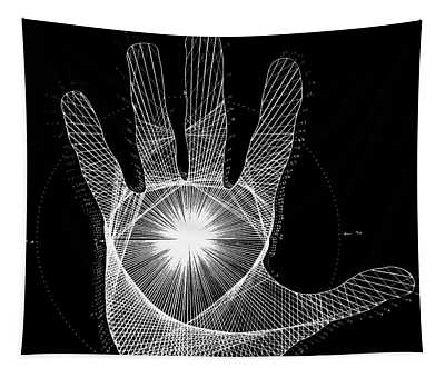 Quantum Hand Through My Eyes Tapestry