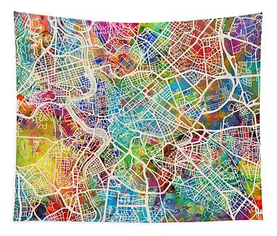 Rome Italy Street Map Tapestry