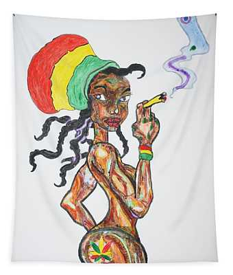 Smoking Rasta Girl Tapestry