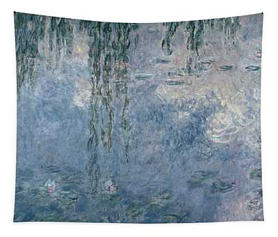 Waterlilies Morning With Weeping Willows Tapestry