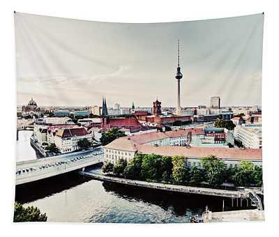 Berlin Germany View On Major Landmarks Tapestry