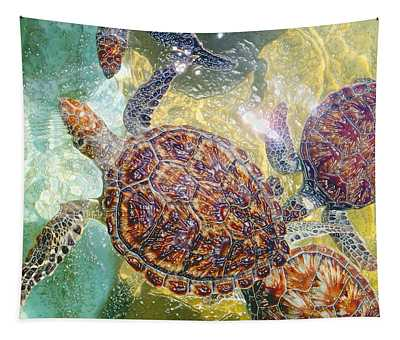 Cayman Turtles Tapestry