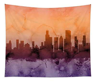 Chicago Illinois Skyline Tapestry