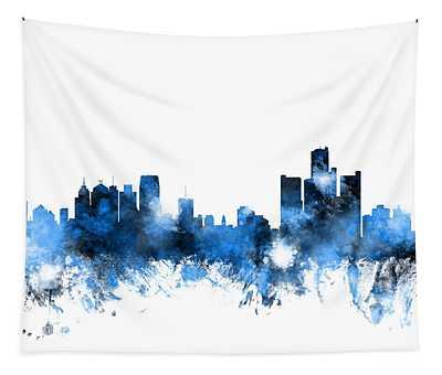Detroit Michigan Skyline Tapestry