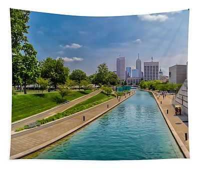 Indianapolis Skyline From The Canal Tapestry