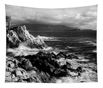 Lone Cypress On The Coast, Pebble Tapestry