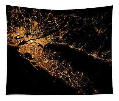 Night Time Satellite Image Of New York Tapestry