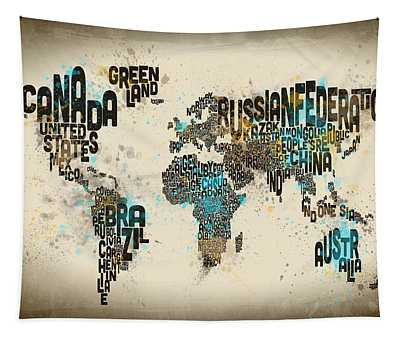 Paint Splashes Text Map Of The World Tapestry