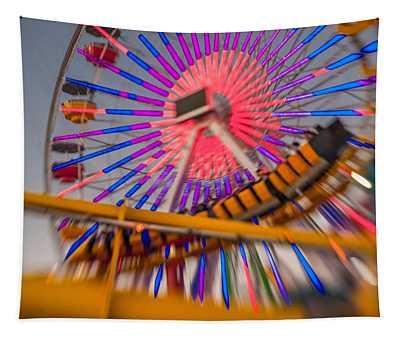 Santa Monica Pier Ferris Wheel And Roller Coaster At Dusk Tapestry