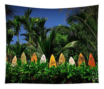 Surf Board Fence Maui Hawaii Tapestry