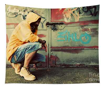 Young Man Portrait On Graffiti Grunge Wall Tapestry